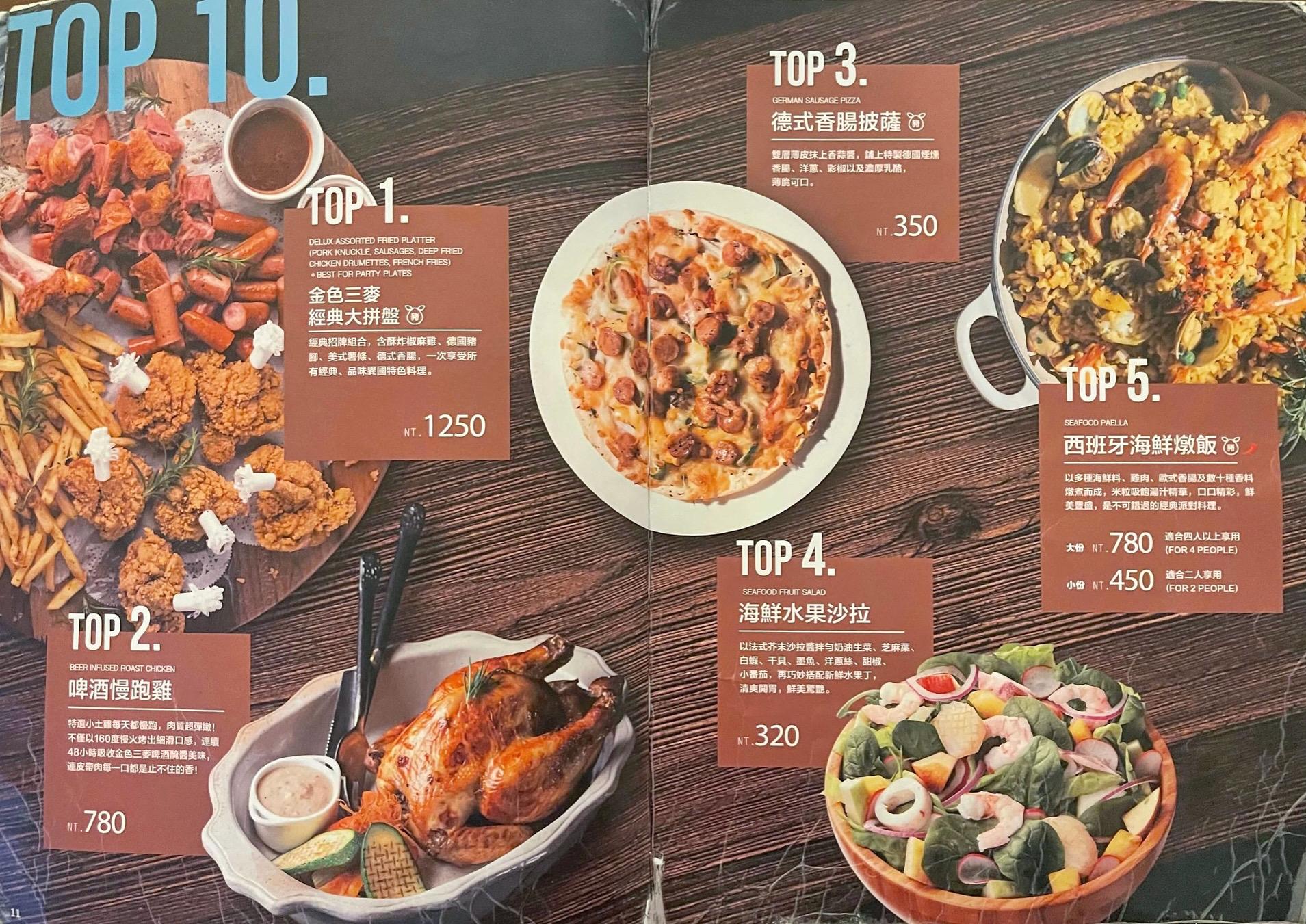 金色三麥菜單MENU-TOP10