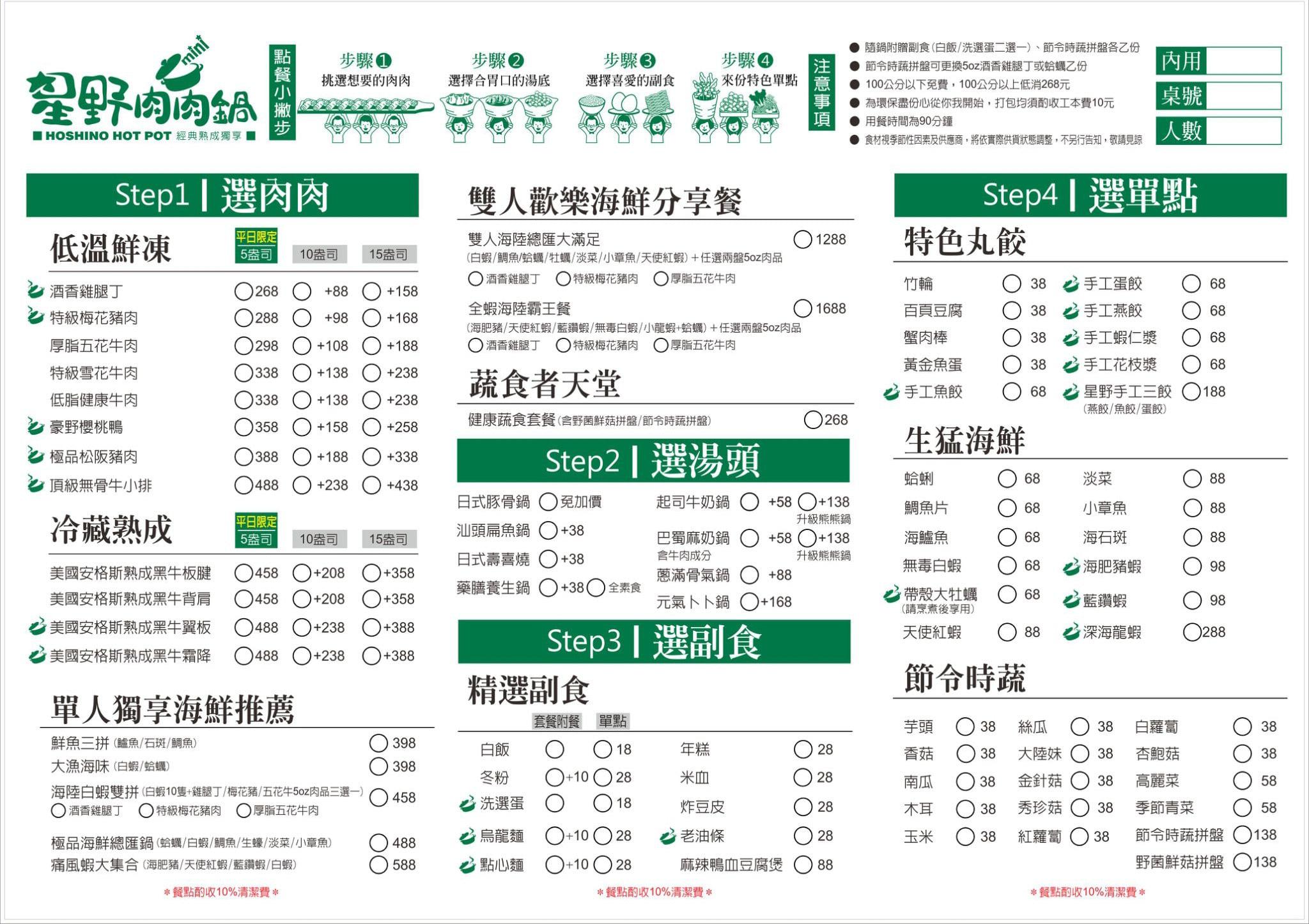 星野肉肉鍋Mini菜單MENU