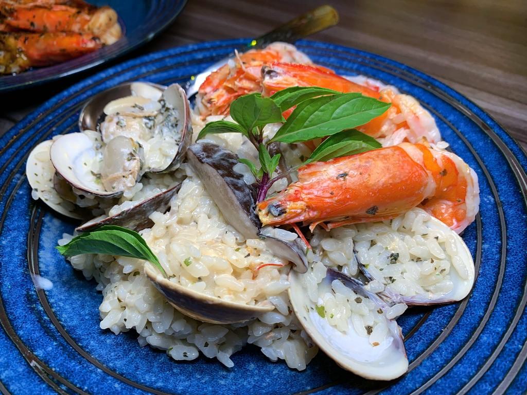 海鮮羅勒燉飯