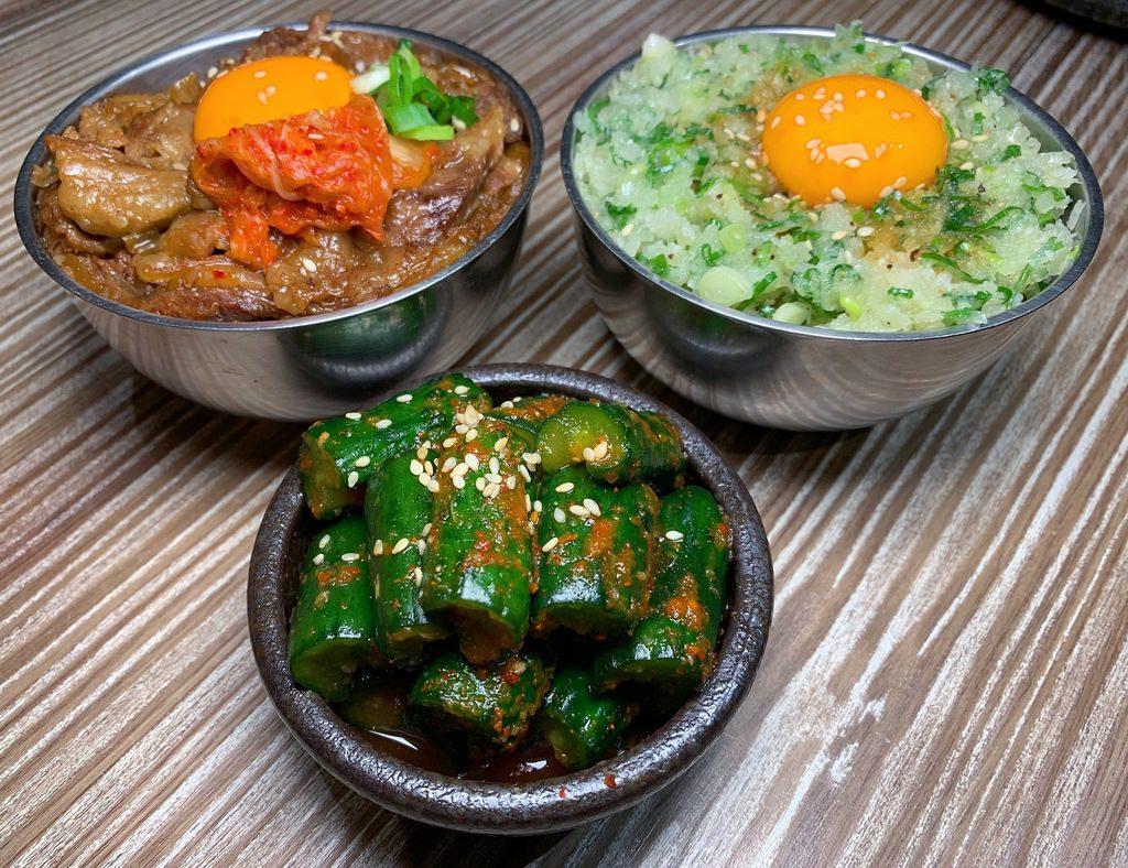 SHOJO辣黃瓜+特製牛丼飯+蔥醬玉子飯